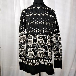 Glamour Whimsical Owl Print Knit Cardigan Size M-L